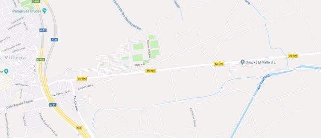 La CV-799 que une las localidades de Biar y Viilena donde ocurrió el suceso