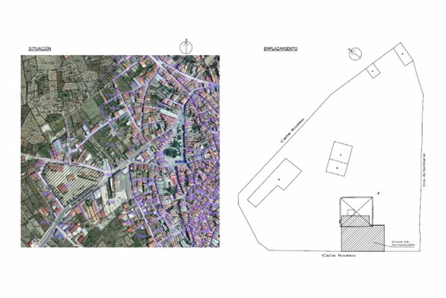 Plano del salón de usos múltiples de Ahigal (Cáceres)