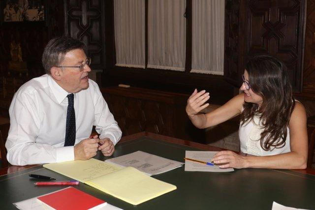 Puig y Oltra, en una reunión en el Palau de la Generalitat