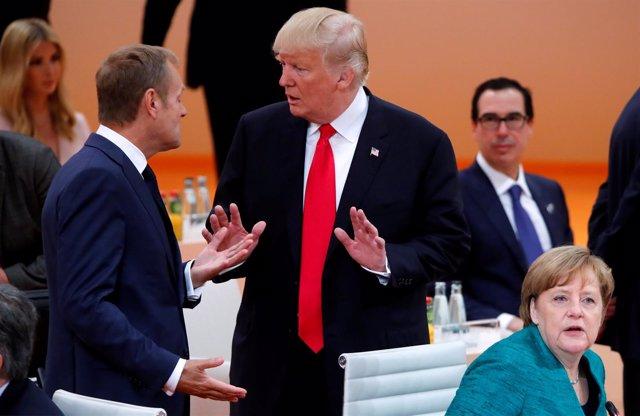 Donald Tusk y Donald Trump en la cumbre del G20