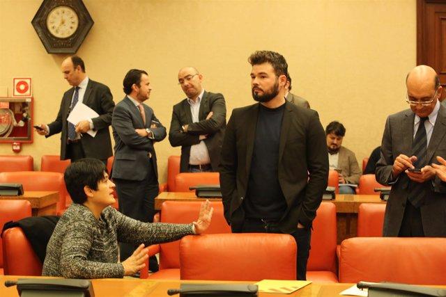 Gabriel Rufián en una comisión en el Congreso