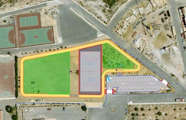 Imagen del proyecto de pistas deportivas y área recreativa en Huércal de Almería