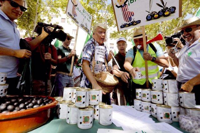 Protesta en Sevilla contra los aranceles de EEUU a la aceituna negra de mesa