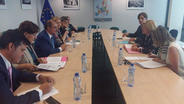 Reunión de Lambán con la comisaria de Política Regional, Corina Cretu