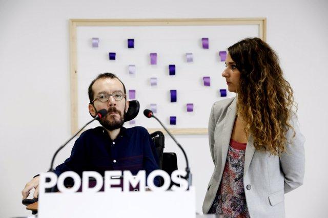 Rueda de prensa de los portavoces de Podemos Pablo Echenique y Noelia Vera
