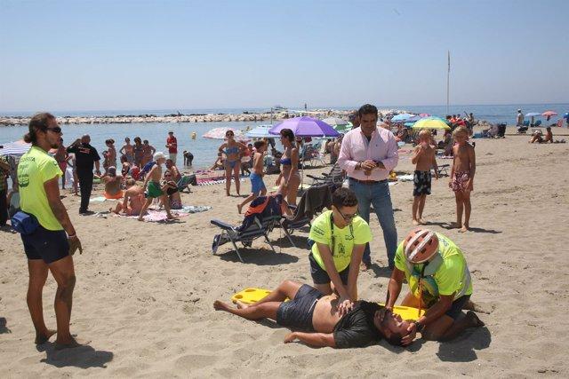 Rescate playa simulacro atencion  víctimas marbella