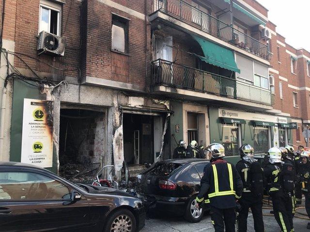 Imagen del incendio en Leganés