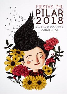"""Cartel de las Fiestas del Pilar 2018 """"La Pili"""""""