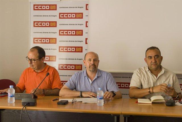 Secretario gral CCOO Cataluña Javier Pacheco y miembro CCOO Aragon Carlos Bravo