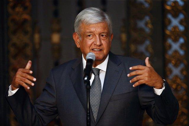 Mexico's president-elect Andres Manuel Lopez Obrador addresses the media after a