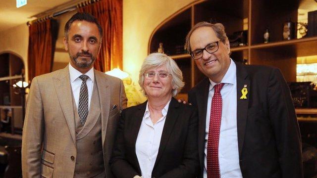 El presidente de la Generalitat, Quim Torra, Clara Ponsatí y Aamer Anwar
