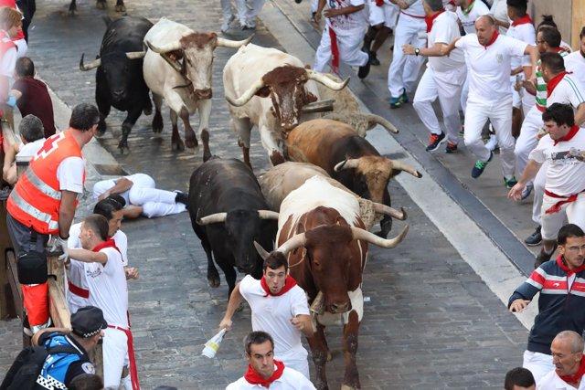 Quinto encierro de San Fermín de la ganadería Núñez del Cuvillo