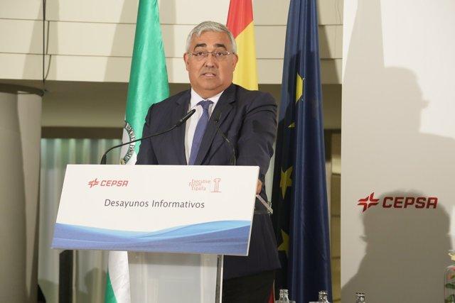 El consejero Antonio Ramírez de Arellano en un desayuno informativo en Madrid