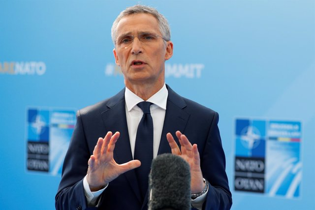 Jens Stoltenberg a su llegada a la cumbre de la OTAN