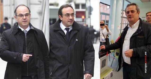 Montaje de los exconsellers de la Generalitat Jordi Turull, Josep Rull y Forn