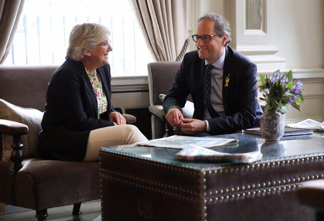 El presidente catalán, Quim Torra, reunido amb la consellera Clara Ponsatí