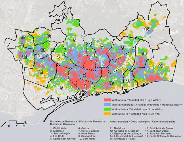 Mapa de la vitalidad urbana de Barcelona ciudad y su conurbación