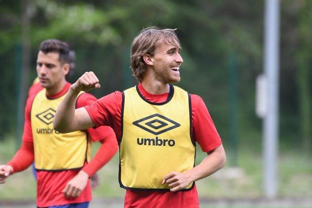 El jugador del Girona FC en un entrenamiento