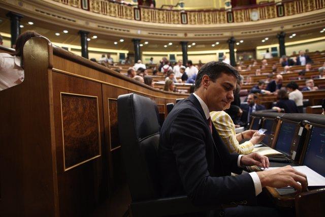 Pedro Sánchez, presidente del Gobierno, en su escaño del hemiciclo