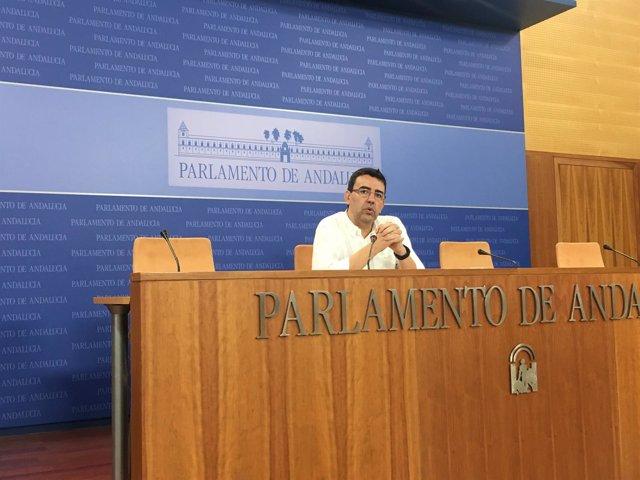 El portavoz parlamentario del PSOE-A, Mario Jiménez, en rueda de prensa