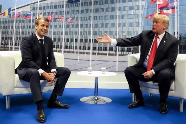 Macron y Trump durante la cumbre de la OTAN en Bruselas