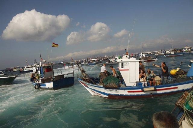 Pescadores españoles protestan en gibraltar