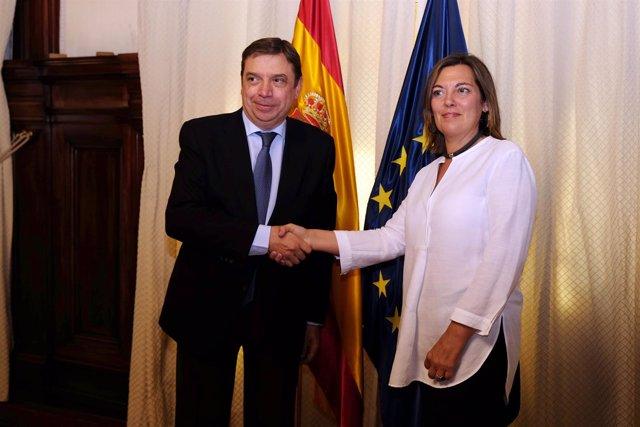 Luis Planas y Milagros Marcos tras la reunión