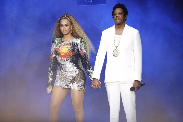 COLOGNE - JULY 3: Beyonce and Jay-Z perform on the 'On The Run II' tour at Rhein