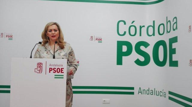 María Jesús Serrano en la sede el PSOE de Córdoba