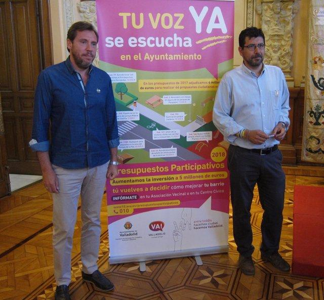 El alcalde, Óscar Puente, y el concejal Alberto Bustos. 12-7-2018