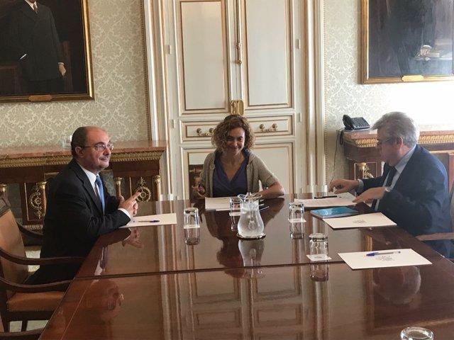 Javier Lambán se ha reunido hoy con la ministra Meritxell Batet en Madrid