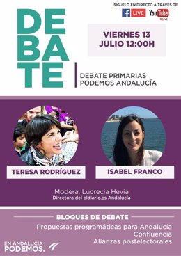 Cartel del debate entgre Teresa Rodríguez e Isabel Franco