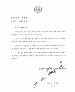Carta de Kim Jong Un a Donald Trump