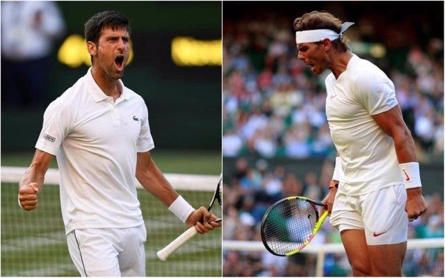Novak Djokovic y Rafa Nadal en Wimbledon