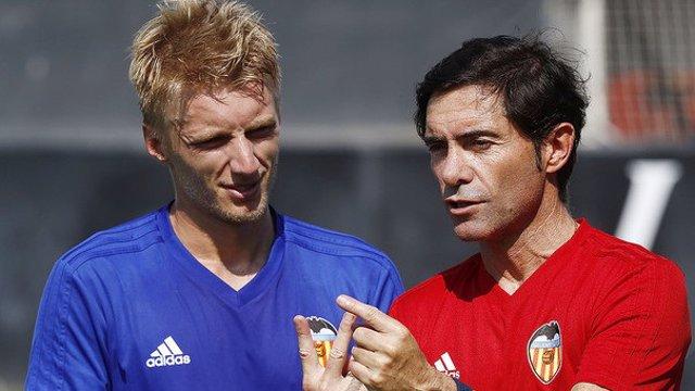 Wass y Marcelino en la pretemporada del Valencia