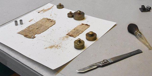 Aspecto del papiro durante el estudio