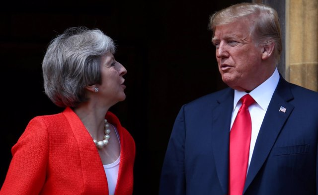 Theresa May y Donald Trump en Chequers, Reino Unido