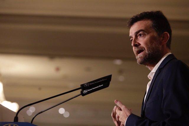 Antonio Maíllo (IU), en un desayuno informativo en Madrid