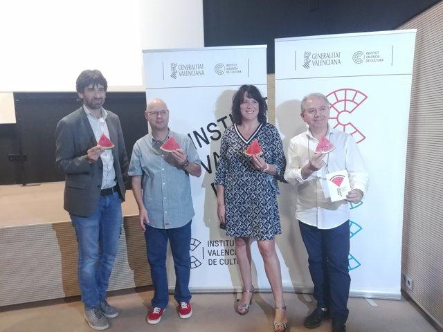 Guarinos, Hurtado, López durante la presentación de la Filmoteca d'Estiu