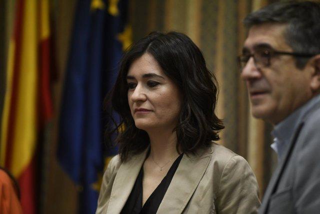 Carmen Montón y Patxi López en la Comisión de Sanidad del Congreso