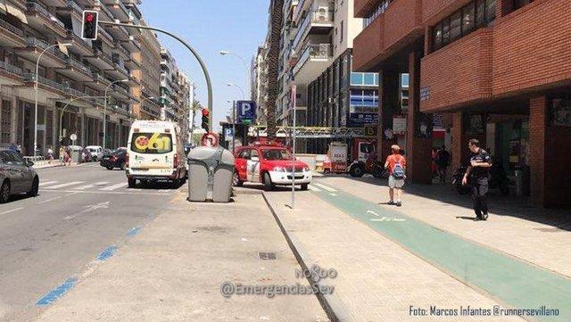 Incendio en un aparcamiento subterráneo en Avenida República Argentina