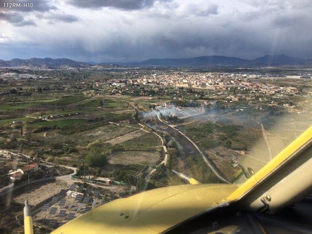 Imágenes del lugar del incendio tomadas desde el helicóptero
