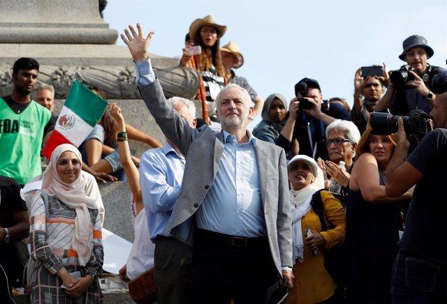Jeremy Corbyn en las protestas contra Donald Trump