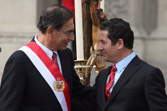 Peru's President Martin Vizcarra and new Justice Minister Salvador Heresi attend