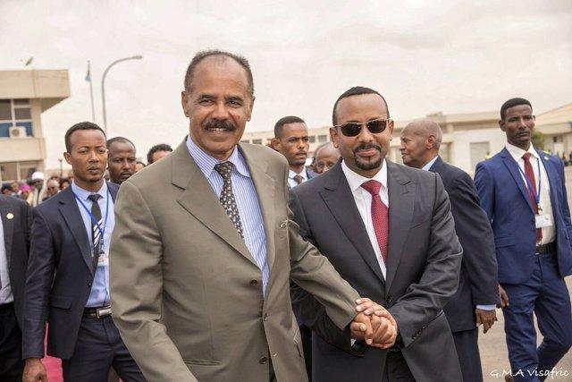 Isaias Afewerki y Abiy Ahmed en Asmara