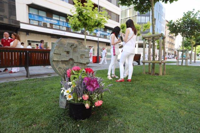 Estela en recuerdo a Germán Rodríguez, muerto en los Sanfermines de 1978.