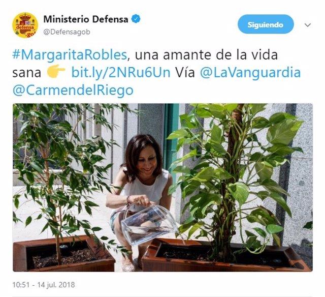 Cuenta de Twitter del Ministerio de Defensa