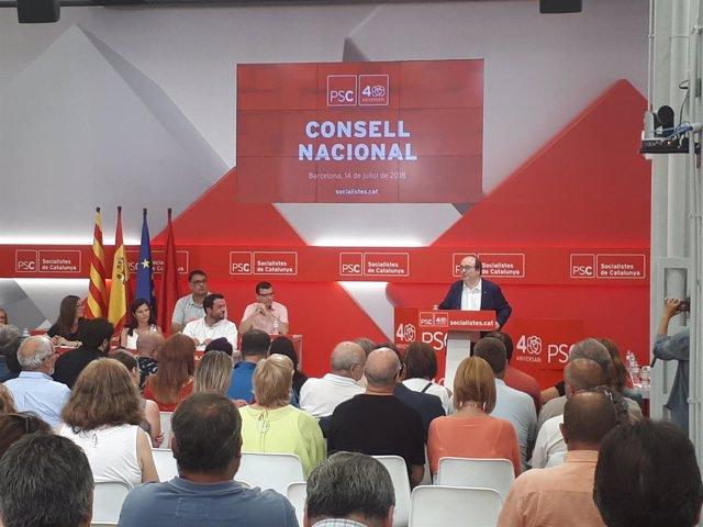 El primer secretario del PSC, Miquel Iceta en el Consell Nacional del partido