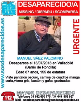 Valladolid.- Cartel sobre la desaparición de Sáez Palomino