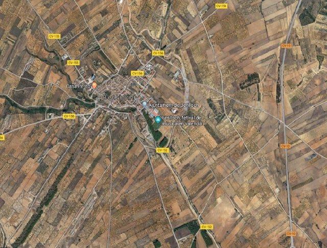 Imagen aérea de la CV-152, a la altura de Benlloch